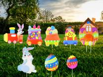 Unomor 8 Pack Easter Yard Signs Outdoor Lawn Decorations Large Easter Decorations with Easter Eggs, Bunny and Chick for Easter Party Supplies Eater Props Home Garden Decor, Stakes Included