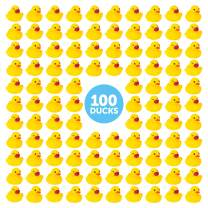 BleuZoo Mini Rubber Ducks | Baby Bath Toy | Bulk Gag Gift Pranks Practical Jokes Birthday Party Favors Decorations Baby Shower | Yellow Duckies - (100 Pack)