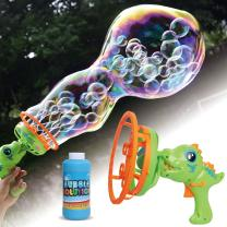 Happitry Bubble in Bubble Blower Machine for Toddlers Ages 3 Year Old and Up, Dinosaur Bubble Maker for Kids Outdoor Play, Bubble Gun Blower for Kids with 8oz Bubble Solution, Gifts for Birthday