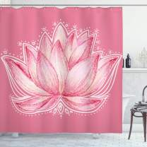 "Ambesonne Floral Shower Curtain, Lotus Flower Meditation Yoga Plant Petal Chakra Print, Cloth Fabric Bathroom Decor Set with Hooks, 84"" Long Extra, Pink Cream"
