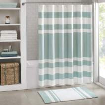 Madison Park Spa Waffle Shower Curtain Pieced Solid Microfiber Fabric with 3M Scotchgard Water Repellent Treatment Modern Home Bathroom Decorations, Stall 54X78, Aqua