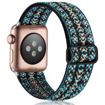 Vcegari Stretchy Loop Band Compatible for Apple Watch 38mm 40mm, Adjust Sport Elastic Nylon Replacement Wristband for iWatch SE Series 6 5 4 3 2 1, Aztec Blue