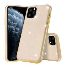 """Polaland iPhone 11 Pro Max Case, Women Cute Sparkle Glitter 3 in 1 Bling Luxury Shiny Hybrid Layer and Soft Shell with Hard Plastic Slim Girls Cover for iPhone 11 Pro Max 6.5"""" (2019) -Gold"""