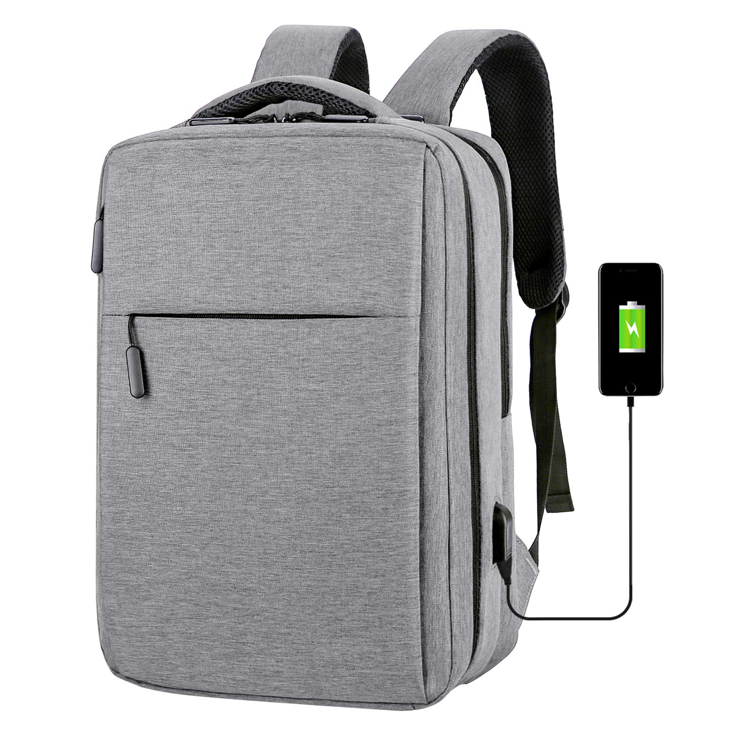 Business Laptop Backpack Anti-theft Laptop Bag Fits 14 15 15.6 Inches Notebook with USB Charging Port Business Travel Computer Bag Water Resistant School Bag College Bookbag for Women & Men, Gray