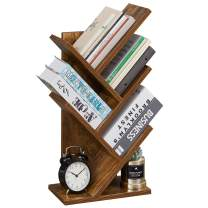 SUPERJARE Tree Bookshelf, 5-Tier Floor Standing Tree Bookcase in Living Room Home Office, Desktop Bookshelves Storage Rack for CDs Movies Books - Rustic Brown