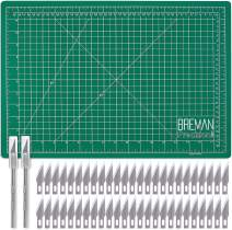 WA Portman Hobby Cutting Mat Craft Knife Set - 12x18 Inch Self Healing Hobby Mat with 2 Professional Hobby Knives and 50 Premium Replacement Blades - Blades Compatible with Most X Acto Knives