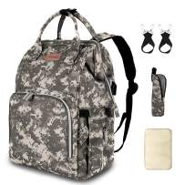 Diaper Bag Backpack with USB Charging Port Stroller Straps Insulated Pocket and Changing Pad, Tactical Diaper Bag Backpack for Dad/Boy/Mom/Girl/Toddler, Camouflage by Qwreoia
