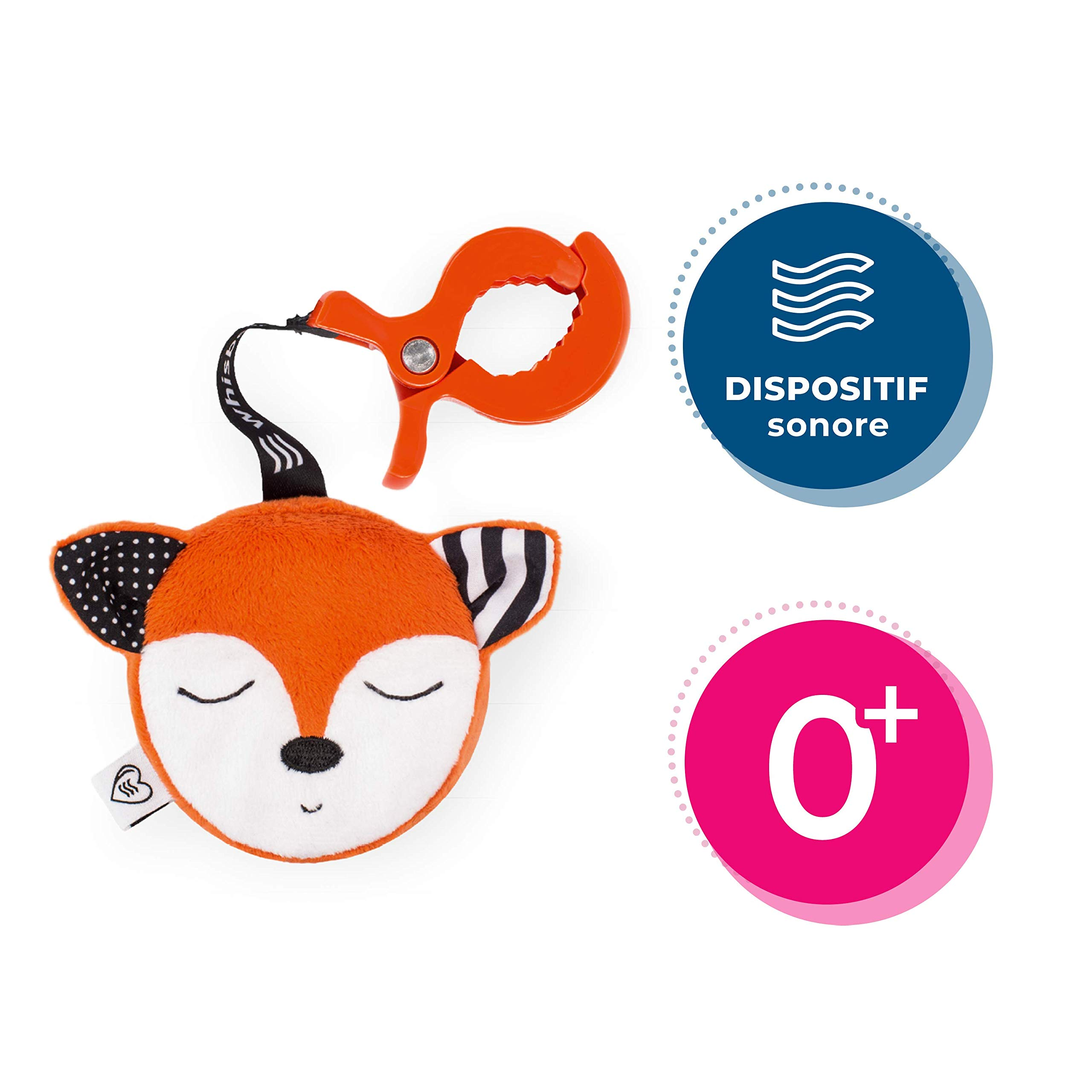 Whisbear The Soothing Fox On-The-go Humming Device- Easily Attachable Sleep Soother, Helps Babies Fall Asleep with a Calming Pink Noise, Washable, Suitable for Newborns