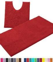 LuxUrux Bathroom Rugs Luxury Chenille 2-Piece Bath Mat Set, Soft Plush Anti-Slip Bath Rug +Toilet Mat.1'' Microfiber Shaggy Carpet, Super Absorbent Machine Washable Bath Mats (Curved Set Large, Red)