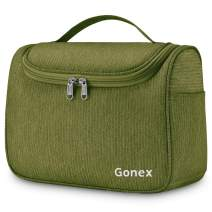 Gonex Hanging Travel Toiletry Bag for Women Men Family Cosmetics Makeup Bag Organizer Dopp Kit Pouch for Bathroom Water-Resistant with Strong Zippers (Green)