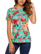 SoTeer Crew Neck T-Shirt Cotton Slim-Fitting Tee Women Solid Color & Printed Floral Short Sleeve Top Summer