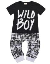 Newborn Baby Boys Clothes Wild Boy Letter Print T-Shirt Tops and Pants Outfits Set Summer Spring