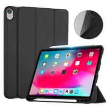 Ayotu Case for iPad Pro 12.9 inch 2018 Release(Old Model)-[Support Apple Pencil Charging] Slim Tri-fold Stand Case with Auto Wake/Sleep Case for iPad Pro 12.9 2018 Inch (A1876/A1895/A2014/A1983),Black