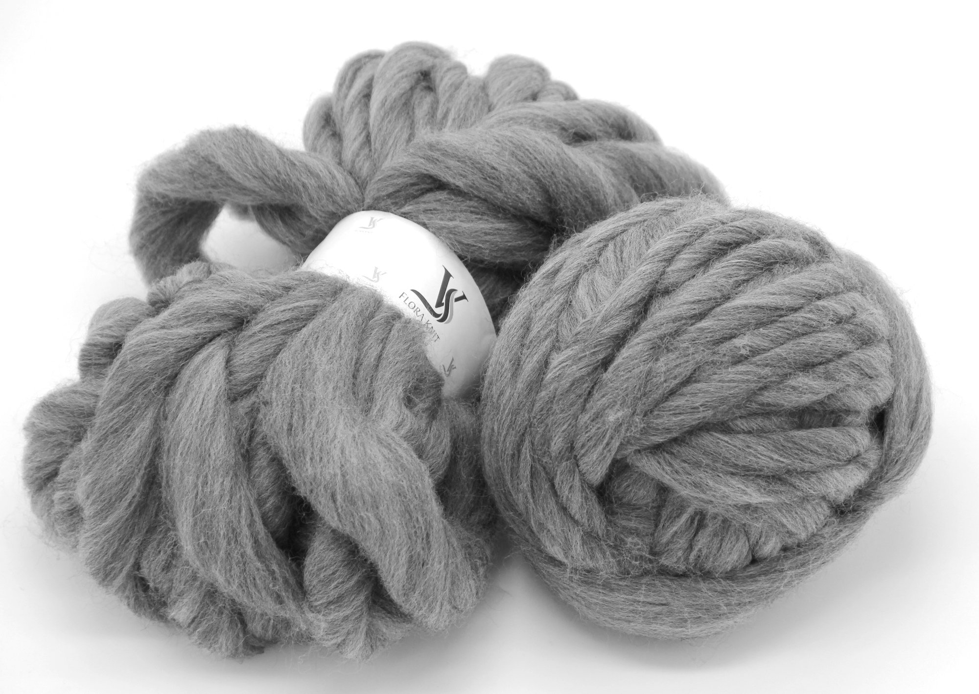 Merino Wool Super Chunky Yarn- Bulky Roving Yarn for Finger Knitting,Crocheting Felting,Making Rugs Blanket and Crafts by FLORAKNIT (Gray, Chunky-40mm-1.1LB)