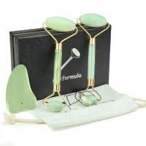 3 PCS Jade Roller for Face Gua Sha Massager Tool Set- Massage Body Rollers Face Slimmer Eye Neck Massage Stones- Skin Care Facial Tools, Massage Roller Easy Scraping Slimming Guasha Real Natural Kit