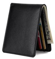 Mens Slim Front Pocket Wallet ID Window Card Case with RFID Blocking, Cross Grain