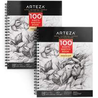 ARTEZA 9X12 Sketch Book, Pack of 2, 200 Sheets (68 lb/100gsm), Spiral Bound Artist Sketch Pad, 100 Sheets Each, Durable Acid Free Drawing Paper, Ideal for Kids & Adults, Bright White