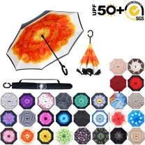 ABCCANOPY Inverted Umbrella,Double Layer Reverse Rain&Wind Teflon Repellent Umbrella for Car and Outdoor Use, Windproof UPF 50+ Big Straight Umbrella with C-Shaped Handle,orange flower