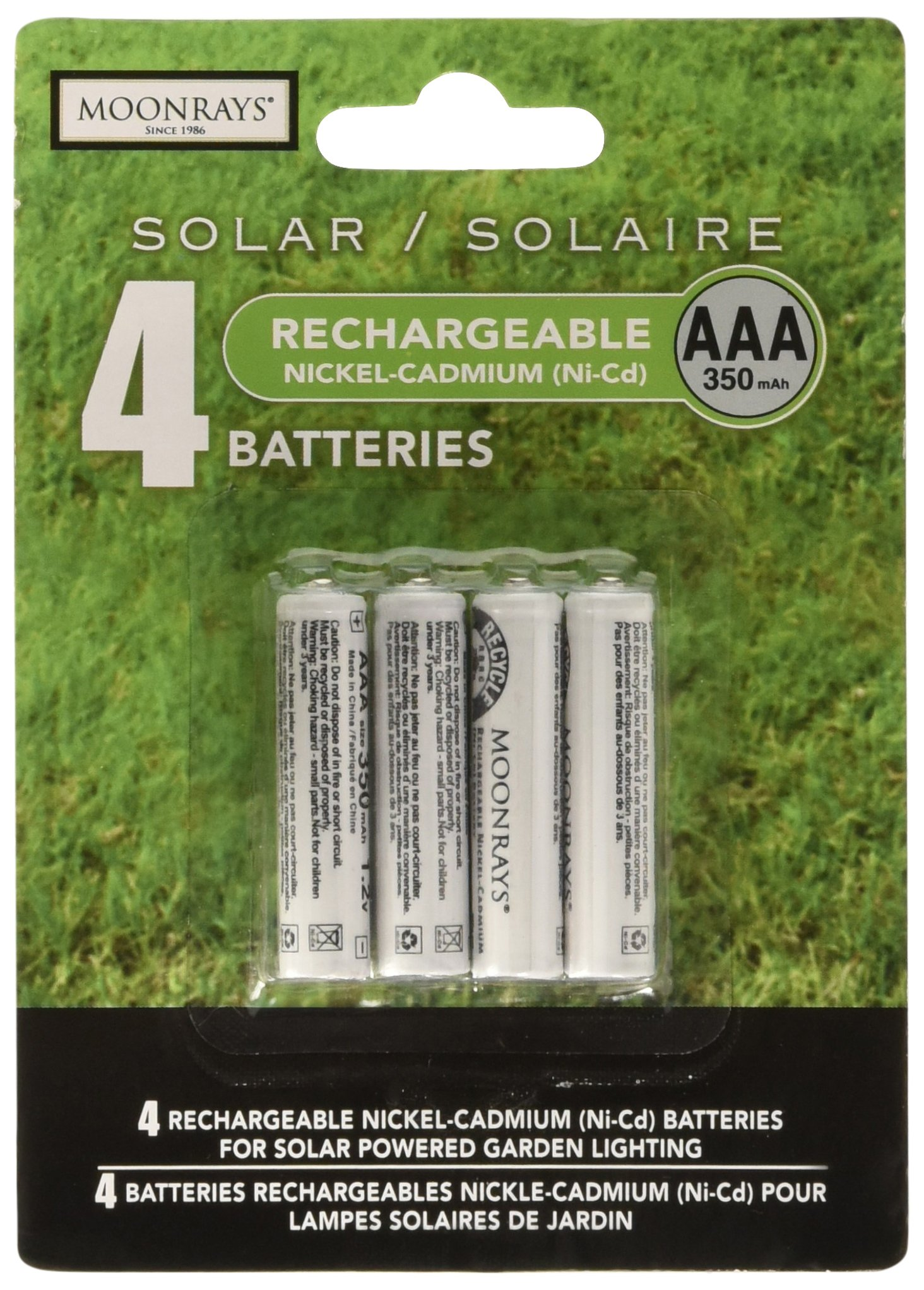 Moonrays 97126 Rechargeable NiCd Batteries for Solar Powered Units (AAA, 4-Piece Pack)