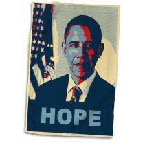 """3D Rose President Barack Obama in Hope Pop Art Towel, 15"""" x 22"""", Multicolor"""