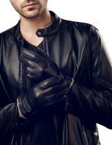 YISEVEN Men's Winter Cashmere Lined Genuine Deerskin Dress Leather Gloves