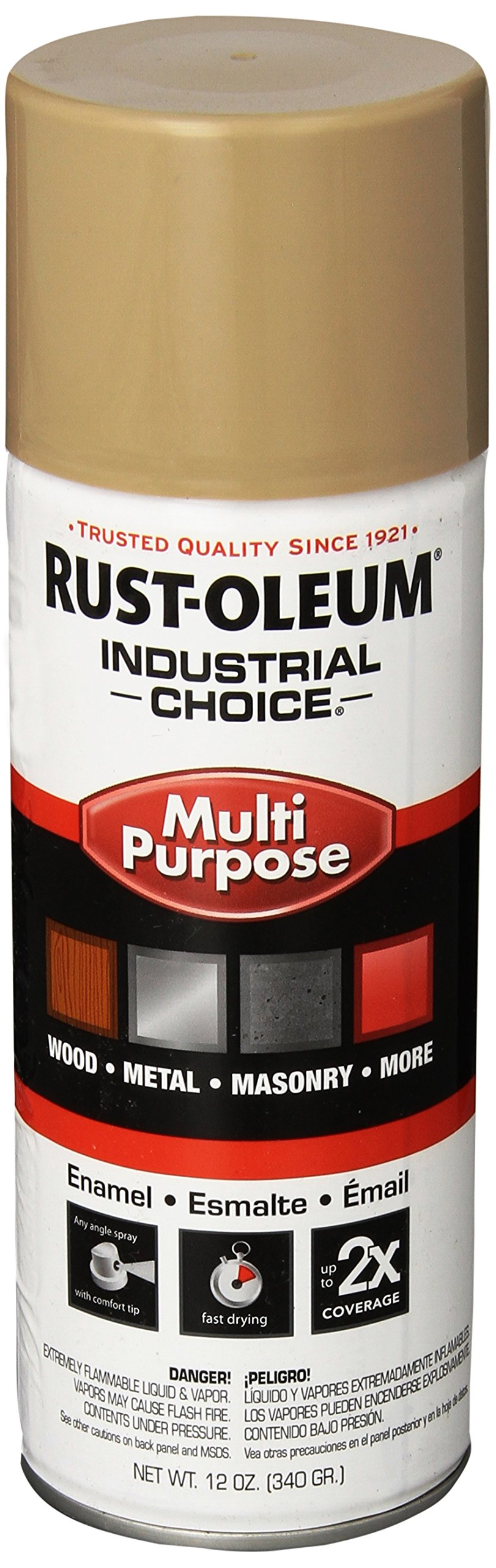 Rust-Oleum 1671830 Beige 1600 System General Purpose Enamel Spray Paint, 16 fl. oz. container, 12 oz. weight fill, Can (Pack of 6)