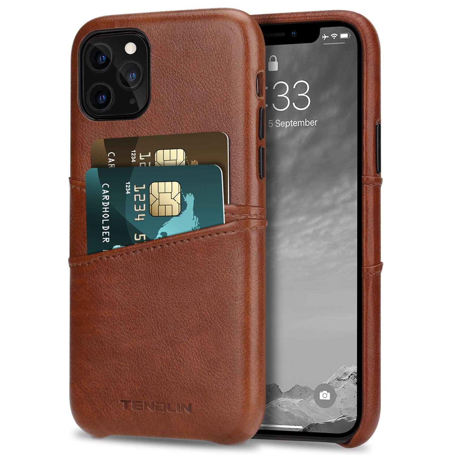 TENDLIN Compatible with iPhone 11 Pro Case Wallet Design Premium Leather Case with 2 Card Holder Slots (Brown)