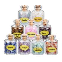 MANIFO 9 Mini Crystals Stone Chip Bottles, Reiki Healing Crystal Tumbled Gemstone Wicca Stones Set for Home Decoration Collection