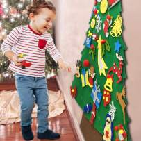 4Ft Tall DIY Felt Christmas Tree Set 2020 with 34pcs Detachable Ornaments for Toddlers Kids Boys Girls Birthday Holiday Gifts, Door Wall Hanging Decorations Kids Party Favors Holiday Diy Toys