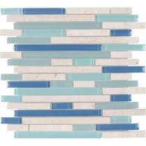 MTO0267 Classic Linear Blue White Turquoise Glossy Glass Stone Mosaic Tile