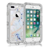 Maxcury Case for iPhone 8 Plus 7 Plus and iPhone 6 Plus, Hard PC Bumper + Soft TPU Back 3 in 1 Dual Layer Shock-Absorption Anti-Scratch White Marble Clear Case for iPhone 6 Plus/6S Plus/7 Plus/8 Plus.