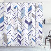 """Ambesonne Chevron Shower Curtain, Tribal Zigzag Lines Pattern in Various Shades Geometric Sketch, Cloth Fabric Bathroom Decor Set with Hooks, 70"""" Long, Taupe White"""
