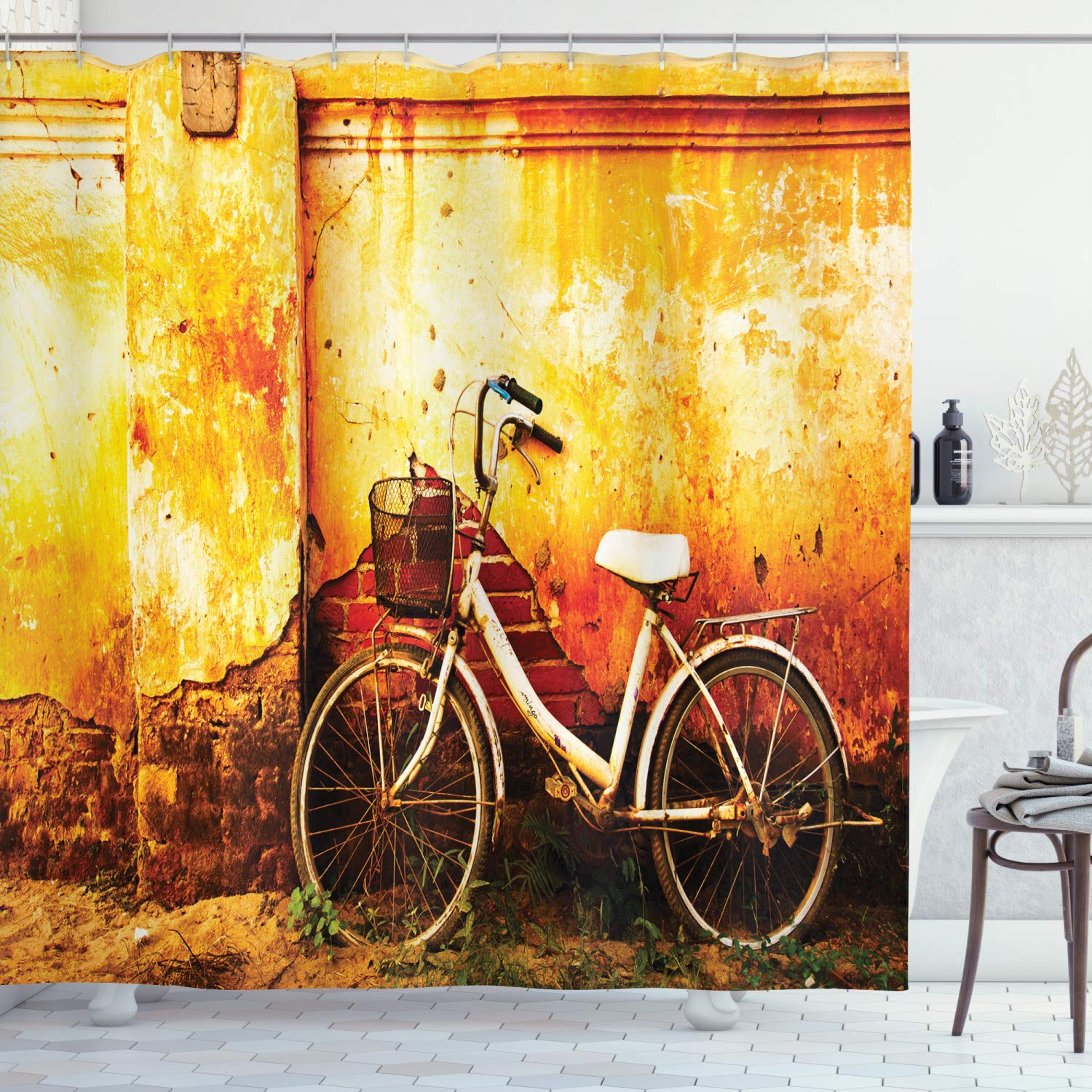 """Ambesonne Bicycle Shower Curtain, Vintage Bike in Front of a Rusty Dirty Cracked Broken Brick Wall Lifestyle Photo, Cloth Fabric Bathroom Decor Set with Hooks, 75"""" Long, Sepia"""