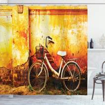"Ambesonne Bicycle Shower Curtain, Vintage Bike in Front of a Rusty Dirty Cracked Broken Brick Wall Lifestyle Photo, Cloth Fabric Bathroom Decor Set with Hooks, 75"" Long, Sepia"