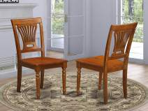 East West Furniture PVC SBR W Plainville dining chair set of 2 Wooden Seat and Saddle Brown Hardwood Frame dining room chairs