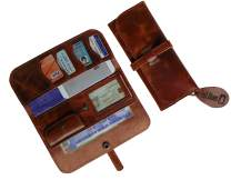 HB Womens Genuine leather wallet Phone Travel Clutch Hand Purse ~ Multiple card slots (Rich Brown)