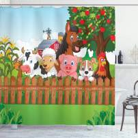 """Ambesonne Cartoon Shower Curtain, Composition Farm Animals on Fence Comic Mascots with Dog Cow Horse Kids Design, Cloth Fabric Bathroom Decor Set with Hooks, 84"""" Long Extra, Green Brown"""