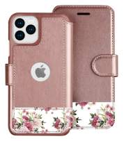LUPA iPhone 11 Pro Max Wallet Case -Slim iPhone 11 Pro Max Flip Case with Credit Card Holder - for Women & Men - Faux Leather i Phone 11 Pro Max Purse Cases – Floral Charm - 6.5 inch Display Screen