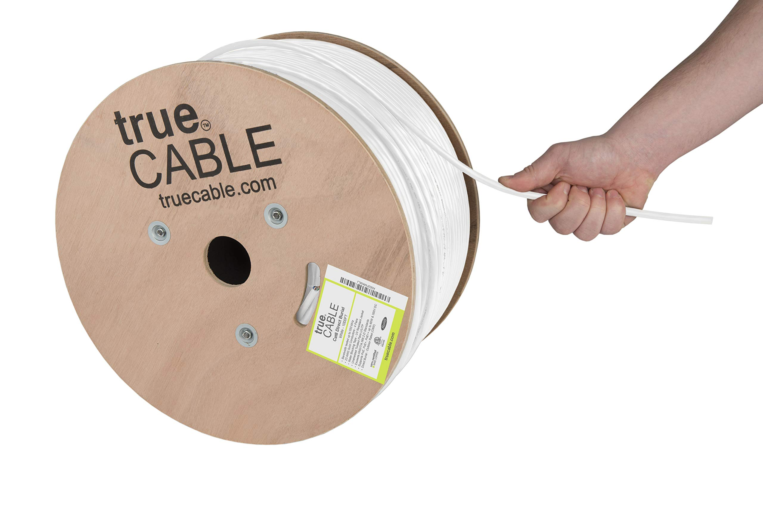 trueCABLE Cat6 Direct Burial, 1000ft, Waterproof, Outdoor Rated CMX, White, 23AWG Solid Bare Copper, 550MHz, ETL Listed, Unshielded UTP, Bulk Ethernet Cable
