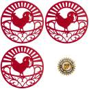 Silicone Trivet Set for Hot Dishes, Pots & Pans. These Kitchen Hot Pads 'Country Rooster' Design (Symbol of Prosperity & Good Luck) Mimics Cast Iron Trivets (7.5 inch Round, Set of 3, Red)