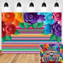 Mexican Fiesta Theme Photo Background Dalia Colorful Stripe Paper Flower Photo Booth Studio Props Decorations Vinyl Cinco De Mayo Festival Carnival Photography Backdrop 5x3ft Supplies Cake Table Decor