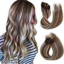 Remy Clip in Hair Extensions Ombre Balayage Clip in Hair Dark Brown to Brown with Blonde Highlights Clip in Real Extensions 8 Pcs Double Weft Straight Clip in Hair Extensions for Women 16Inch 120G