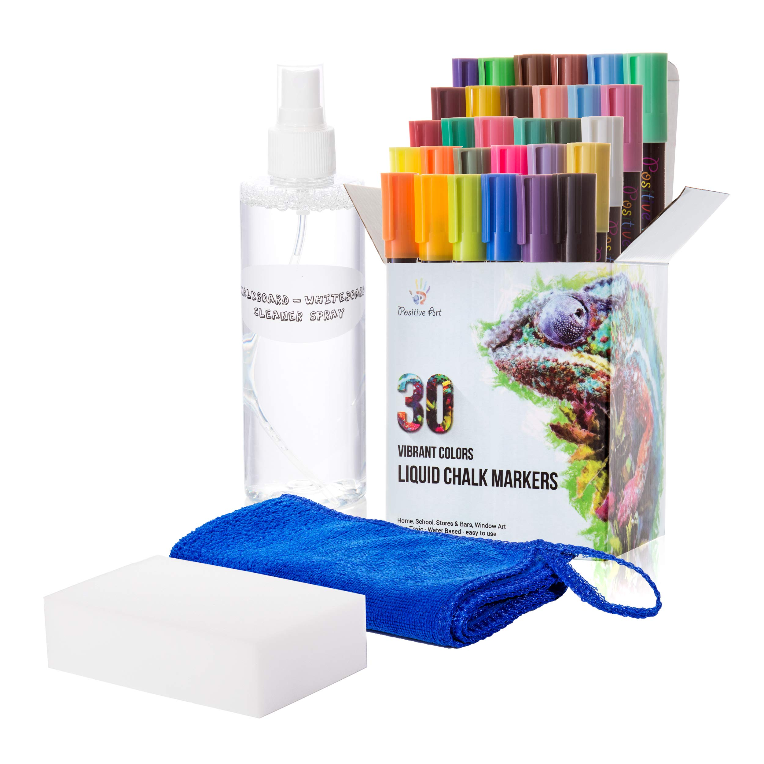 Liquid Chalk Markers 30 Colors By Positive Art: Bright Colors, Painting and Drawing For Kids and Adults, Window and Board Art For Bistros, Bars - Reversible Tip (Chalk Markers With Cleaner Set)