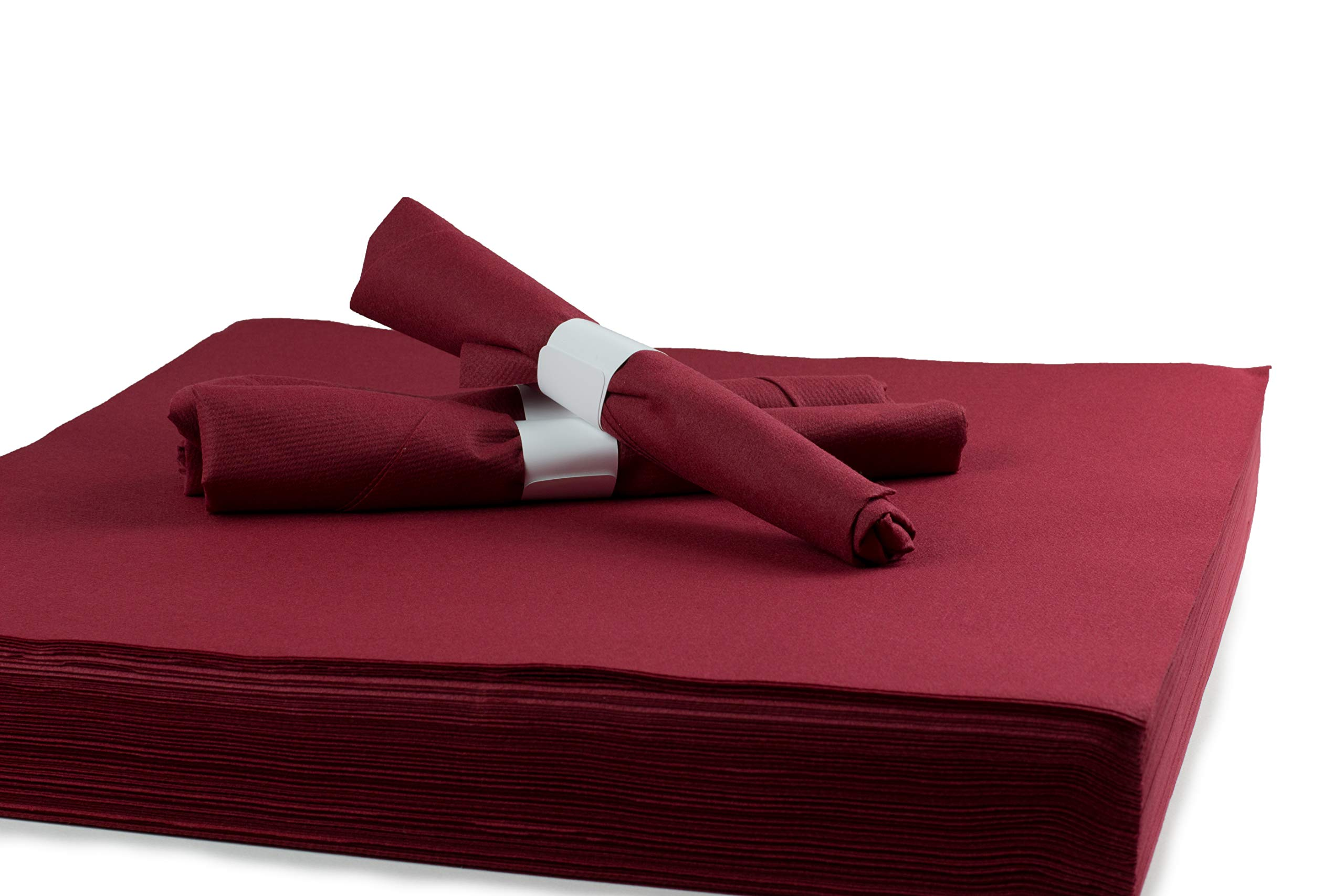 """Simulinen Dinner Napkins - Like Cloth Yet Disposable - Unfolded 16""""x16"""" (Burgundy 250 Count)"""