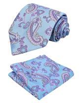 Alizeal Paisley Tie Set Wedding Ties + Pocket Square + Gift Box