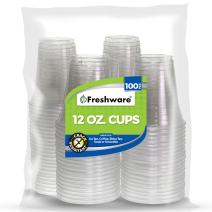 Freshware Plastic Cups [12 oz, 100-PCS] - Disposable Cold Drink Party Soda Cups, Crystal Clear PET Cups