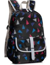 Leaper Cute School Backpack Girls Laptop Bag Shoulder Daypack Triangles Black