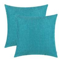 CaliTime Pack of 2 Comfy Throw Pillow Covers Cases for Couch Sofa Bed Decoration Comfortable Supersoft Corduroy Corn Striped Both Sides 16 X 16 Inches Lake Blue