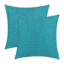 CaliTime Pack of 2 Comfy Throw Pillow Covers Cases for Couch Sofa Bed Decoration Comfortable Supersoft Corduroy Corn Striped Both Sides 26 X 26 Inches Lake Blue