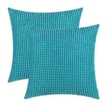 CaliTime Pack of 2 Comfy Throw Pillow Covers Cases for Couch Sofa Bed Decoration Comfortable Supersoft Corduroy Corn Striped Both Sides 24 X 24 Inches Lake Blue